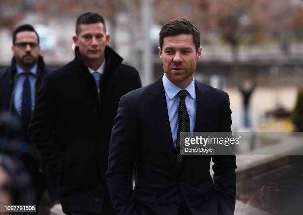 Retired footballer Xabi Alonso arrives at Audiencia Provincial Court to face tax evasion charges on January 22 2019 in Madrid Spain
