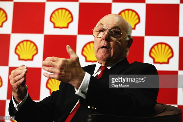 Retired Formula One commentator Murray Walker during the Shell interview at the Shell Centre in Waterloo London on July 03 2002