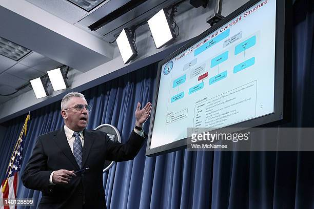 Retired Gen John Abizaid Defense Health Board subcommittee chair conducts a briefing about the Dover Port Mortuary Independent Review Subcommittee...