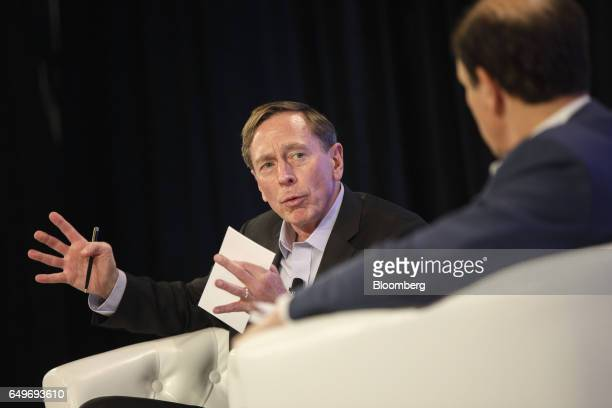 Retired General David Petraeus chairman of KKR Global Institute speaks during the Montgomery Summit in Santa Monica California US on Wednesday March...