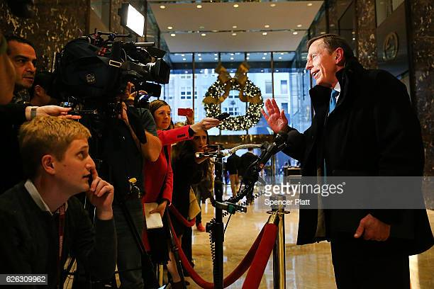Retired General David Petraeus speaks to members of the media while leaving Trump Tower on November 28 2016 in New York City Presidentelect Donald...