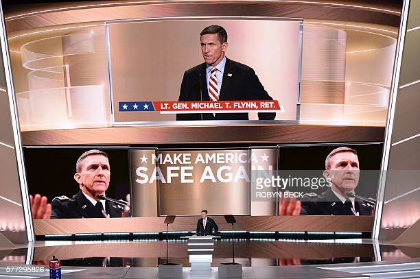 Retired general Michael Flynn addresses to delegates on the first day of the Republican National Convention on July 18 2016 at Quicken Loans Arena in...