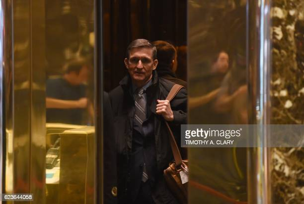 Retired general Michael Flynn arrives at Trump Tower for meetings with Presidentelect Donald Trump November 16 2016 in New York / AFP / TIMOTHY A...
