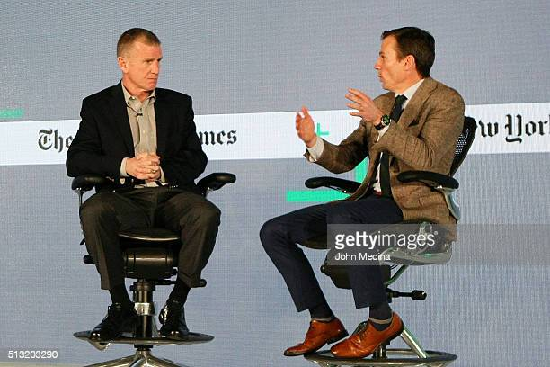 Retired General Stanley A McChrystal McChrystal Group LLC partner and Chris Fussell Chief Growth Officer of McChrystal Group LLC speak onstage at The...