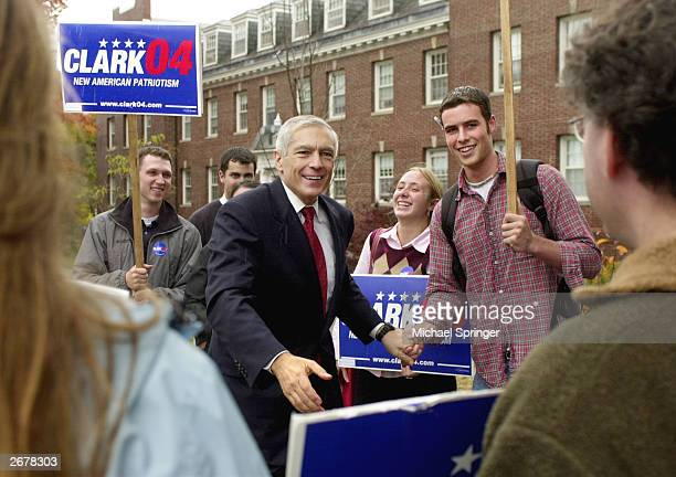Retired General Wesley Clark a democratic candidate for president in 2004 greets supporters as he arrives to participate in the Every Child Matters...