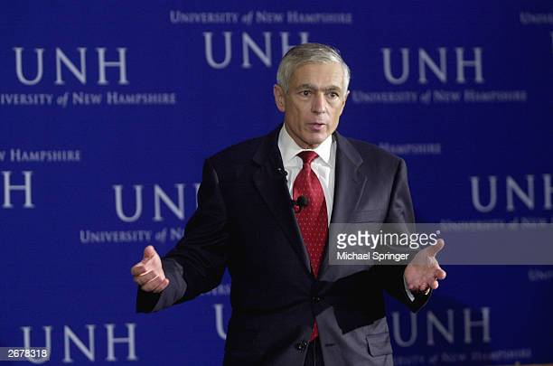Retired General Wesley Clark a democratic candidate for president in 2004 speaks at the Every Child Matters forum at the University of New Hampshire...