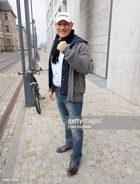 Retired German heavyweight boxer Axel Schulz sighted at Sat1 television studios on November 4 2014 in Berlin Germany