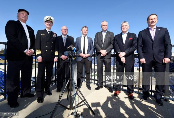 Retired ice hockey player Rod Langway who played for the Washington Capitals US Naval Academy Superintendent Vice Admiral Walter E 'Ted' Carter NHL...