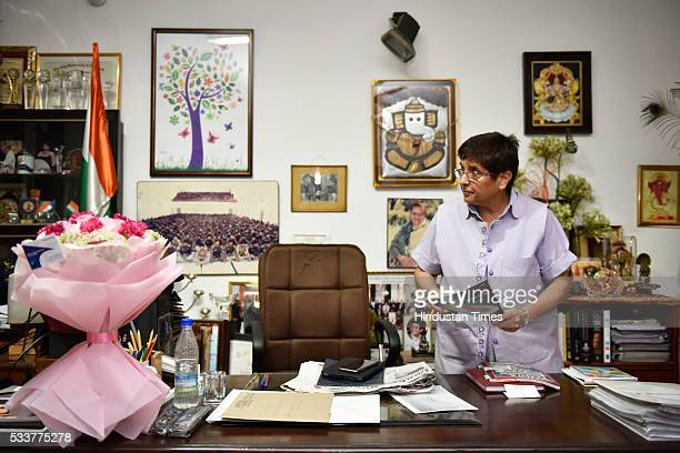 Retired IPS officer Kiran Bedi at her office post the announcement of her appointment as the Lt Governor of Puducherry on May 23 2016 in New Delhi...