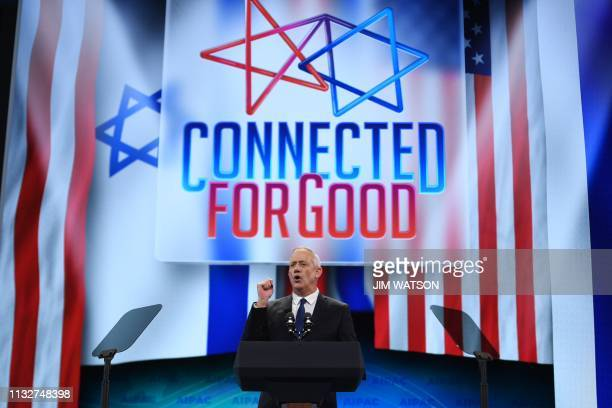 Retired Israeli general Benny Gantz one of the leaders of the Blue and White political alliance speaks during the AIPAC annual meeting in Washington...