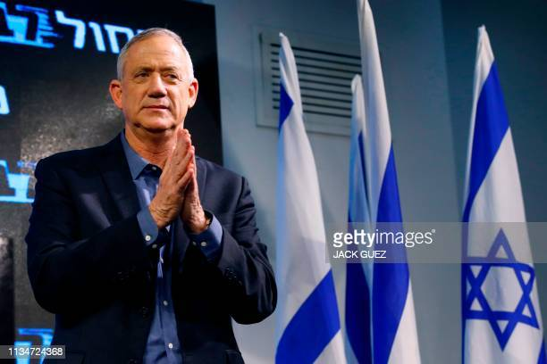 Retired Israeli general Benny Gantz one of the leaders of the Blue and White political alliance gestures during a campaign event in the Israeli...
