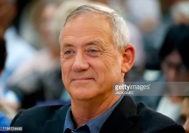 Retired Israeli general Benny Gantz one of the leaders of the Blue and White political alliance attends a campaign event in the Israeli southern city...