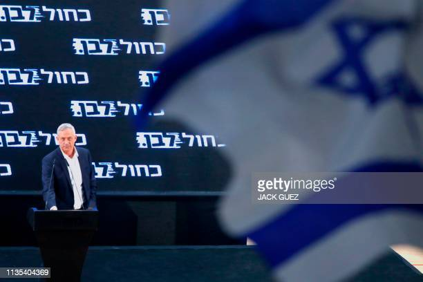 Retired Israeli general Benny Gantz one of the leaders of the Blue and White political alliance speaks during a campaign event in the Israeli city of...