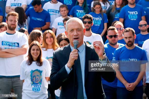 Retired Israeli general Benny Gantz one of the leaders of the Blue and White political alliance speaks during a campaign event in the coastal city of...