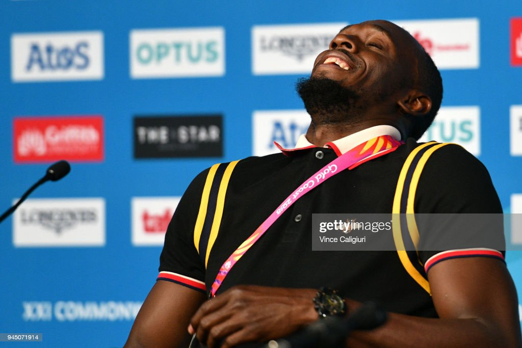 Retired Jamaican sprinter Usain Bolt reacts during a press conference on day eight of the Gold Coast 2018 Commonwealth Games at Gold Coast Convention and Exhibition Centre on April 12, 2018 on the Gold Coast, Australia.