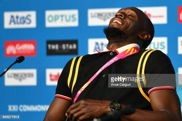 Retired Jamaican sprinter Usain Bolt reacts during a press conference on day eight of the Gold Coast 2018 Commonwealth Games at Gold Coast Convention...