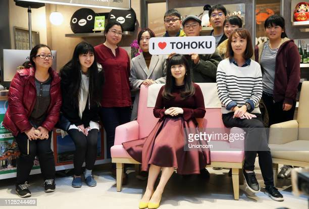 Retired Japanese table tennis player Ai Fukuhara attends 'I live Tohoku' sharing session on January 26 2019 in Taipei Taiwan of China