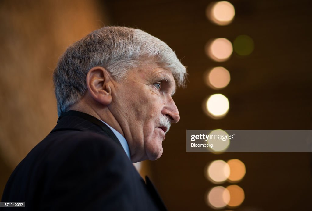 Retired Lieutenant-General Romeo Dallaire speaks to members of the media during the 2017 UN Peacekeeping Defence Ministerial conference in Vancouver, British Columbia, Canada, on Tuesday, Nov. 14, 2017. Over 500 delegates from more than 70 countries and international organizations will gather at the upcoming Defence Ministerial to discuss improvements to UN peacekeeping operations and focus on securing new pledges from Member States. Photographer: Ben Nelms/Bloomberg via Getty Images