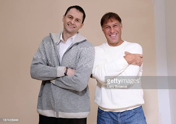 Retired Lithuanian professional basketball players Arturas Karnisovas and Sarunas Marciulionis pose for a portrait during the 2012 Sundance Film...