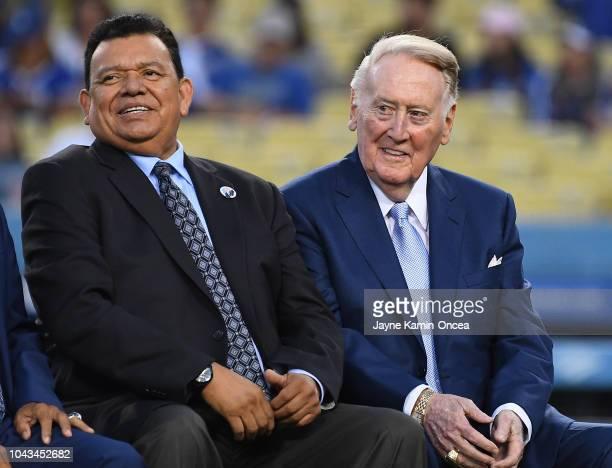 Retired Los Angeles Dodgers broadcaster Vin Scully left jokes with Spanish language broadcaster Fernando Valenzuela duirng a pregame ceremony...