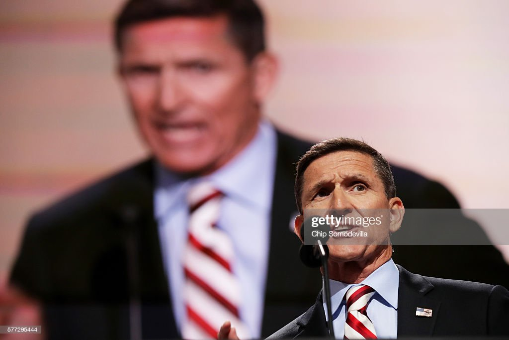 Retired Lt. Gen. Michael Flynn delivers a speech on the first day of the Republican National Convention on July 18, 2016 at the Quicken Loans Arena in Cleveland, Ohio. An estimated 50,000 people are expected in Cleveland, including hundreds of protesters and members of the media. The four-day Republican National Convention kicks off on July 18.