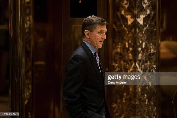 Retired Lt Gen Michael Flynn Presidentelect Donald Trump's choice for National Security Advisor waits for an elevator in the lobby at Trump Tower...