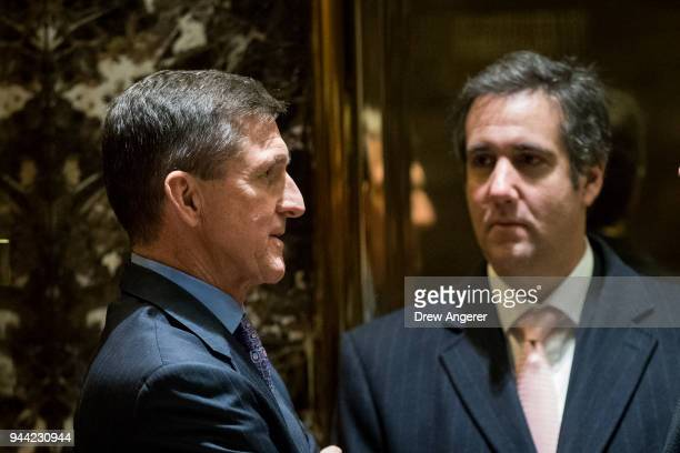 Retired Lt Gen Michael Flynn Presidentelect Donald Trump's choice for National Security Advisor talks with Michael Cohen personal lawyer for...