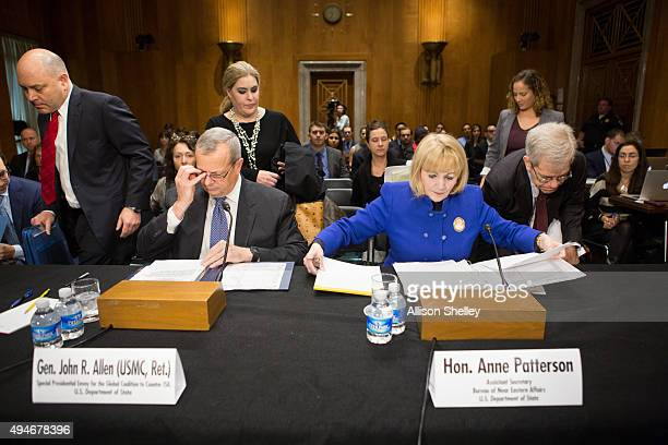 Retired Marine Corps Gen John Allen special presidential envoy for the global coalition to counter ISIL and Anne Patterson Assistant Secretary of...