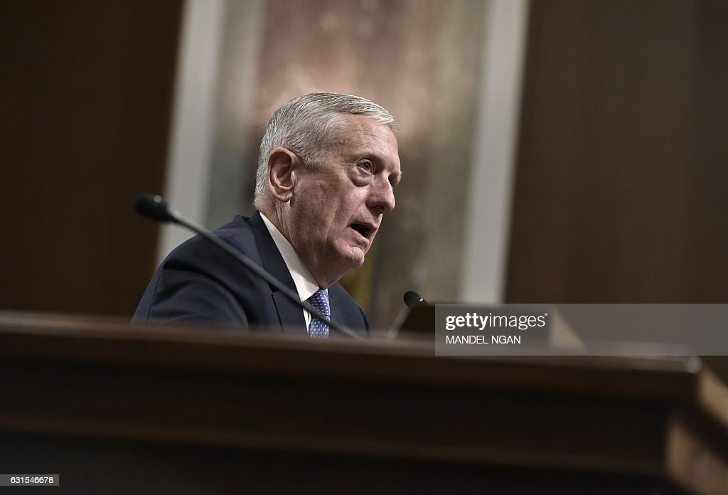 Retired Marine Corps general James Mattis testifies before the Senate Armed Services Committee on his nomination to be the next secretary of defense in the Dirksen Senate Office Building on Capitol Hill in Washington, DC on January 12, 2017. / AFP / Mandel Ngan