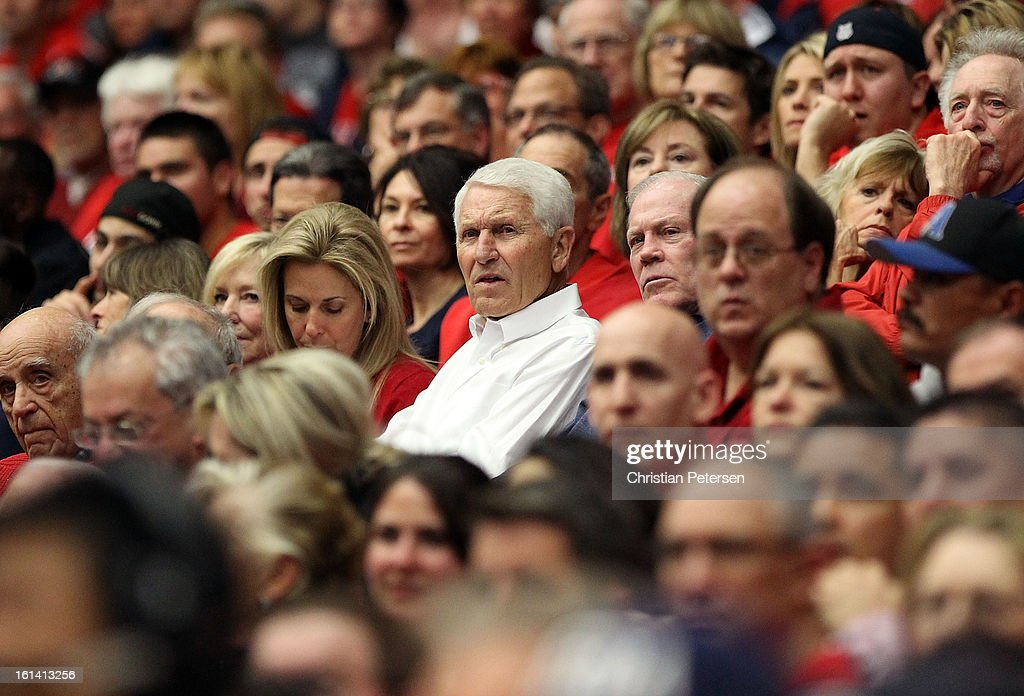 Retired men's basketball coach, Lute Olson attends the college basketball game between the Arizona Wildcats and the California Golden Bears at McKale Center on February 10, 2013 in Tucson, Arizona. The Golden Bears defeated the Wildcats 77-69.