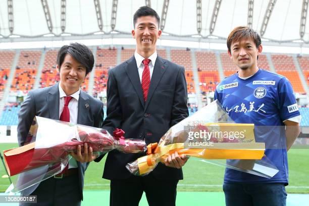 Retired Minoru Hata attends his retirement ceremony prior to the J.League Meiji Yasuda J3 match between Roasso Kumamoto and Kagoshima United at Egao...