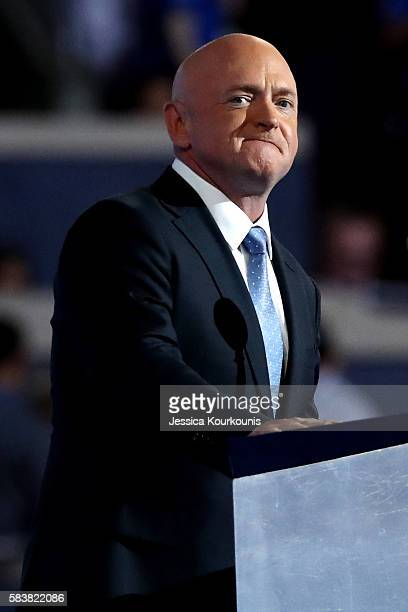 Retired NASA Astronaut and Navy Captain Mark Kelly delivers remarks on the third day of the Democratic National Convention at the Wells Fargo Center,...
