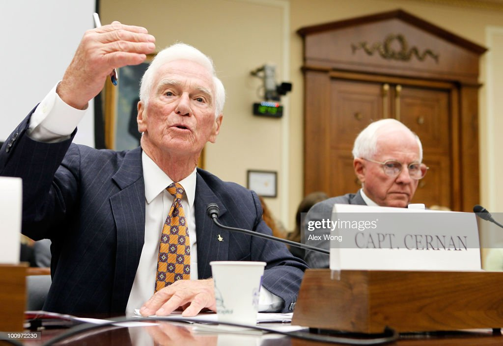 Retired Navy Captain and commander of Apollo 17 Eugene Cernan (L) testifies as former executive vice president of Lockheed Martin Thomas Young (R) listens during a hearing before the House Science and Technology Committee May 26, 2010 on Capitol Hill in Washington, DC. The hearing was to review proposed human spaceflight plan by NASA.