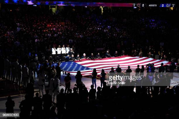 Retired Navy Petty Officer First Class Generald Wilson sings the National Anthem prior to Game Three of the 2018 NBA Finals between the Golden State...