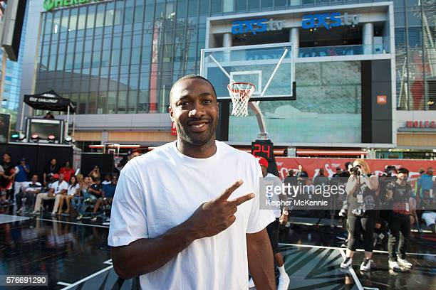 Retired NBA basketball player Gilbert Arenas attends The Rise Challenge presented by Kmart at Microsoft Square at LA Live on July 16 2016 in Los...