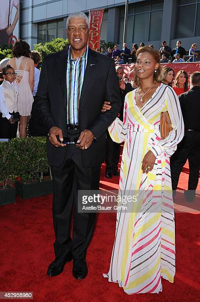 Retired NBA basketball player Julius 'Dr J' Erving and wife Dorys Madden arrive at the 2014 ESPY Awards at Nokia Theatre LA Live on July 16 2014 in...