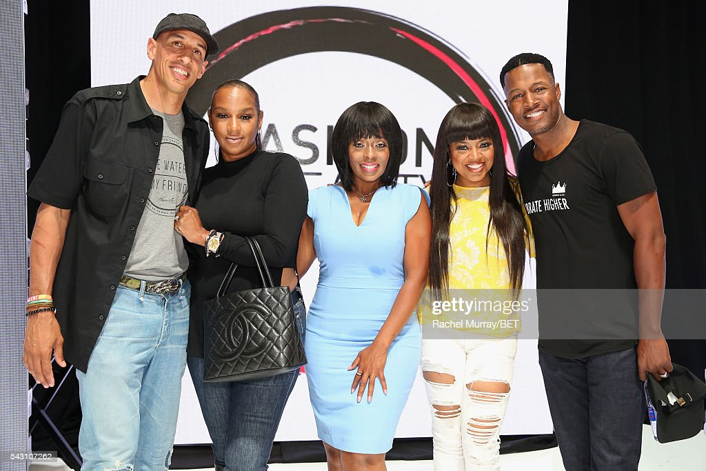 Retired NBA player Doug Christie, TV personality Jackie Christie, actress Stacii Jae Johnson, recording artist/TV personality Shanice, and Flex Alexander pose at the Fashion & Beauty relationship panel during the 2016 BET Experience on June 25, 2016 in Los Angeles, California.