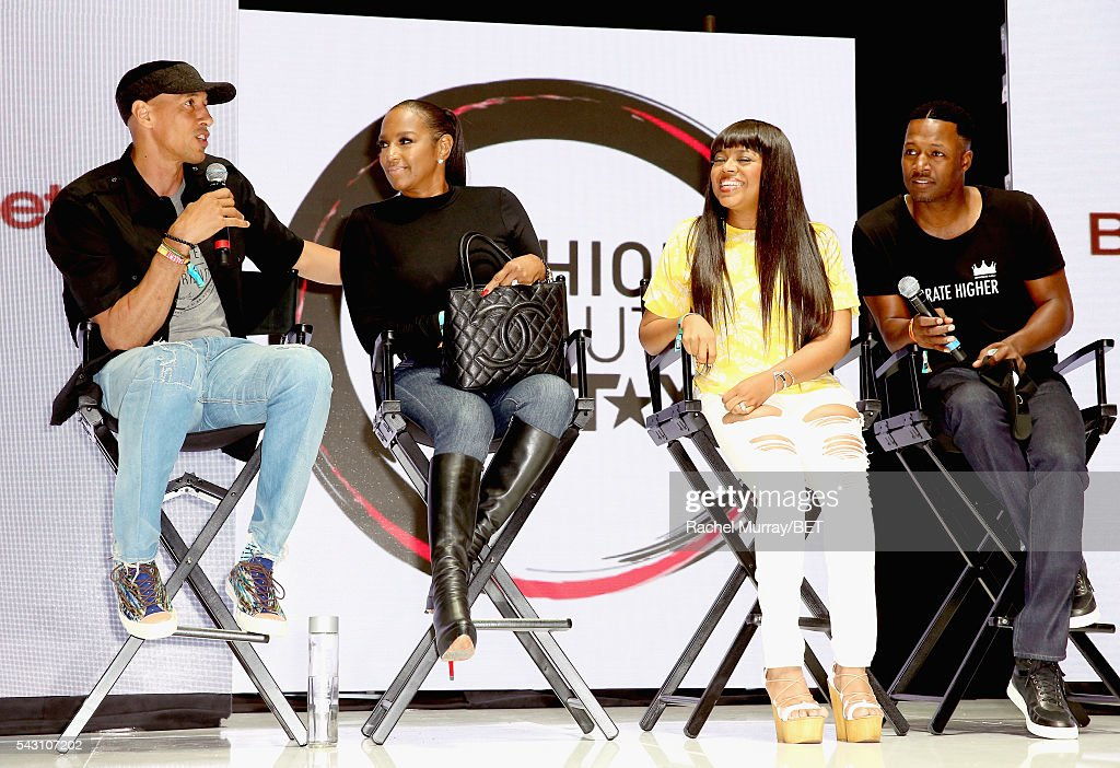 Retired NBA player Doug Christie, TV personality Jackie Christie, recording artist/TV personality Shanice, and Flex Alexander speak onstage at the Fashion & Beauty relationship panel during the 2016 BET Experience on June 25, 2016 in Los Angeles, California.