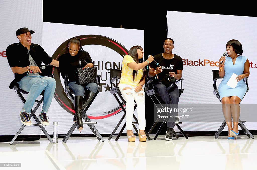 Retired NBA player Doug Christie, TV personality Jackie Christie, recording artist/TV personality Shanice, actor Flex Alexander, and actress Stacii Jae Johnson speak onstage at the Fashion & Beauty relationship panel during the 2016 BET Experience on June 25, 2016 in Los Angeles, California.
