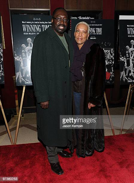 Retired NBA player Earl Monroe and wife Marita Green attend the premiere of Winning Time Reggie Miller vs The New York Knicks at the Ziegfeld Theatre...