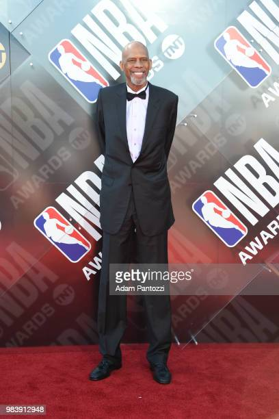 Retired NBA player Kareem AbdulJabbar walks the red carpet before the NBA Awards Show on June 25 2018 at the Barker Hangar in Santa Monica California...