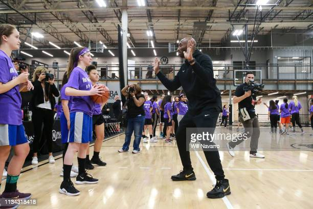 Retired NBA Player Kobe Bryant leads the girls at the Her Time To Play basketball clinic hosted by JRNBA and WNBA with on March 28 2019 at Mamba...