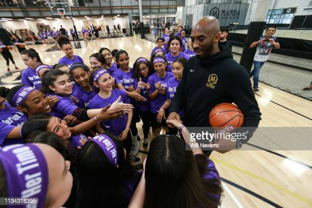 Retired NBA Player Kobe Bryant talks with girls at the Her Time To Play basketball clinic hosted by JRNBA and WNBA with on March 28 2019 at Mamba...
