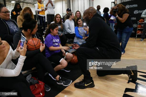 Retired NBA Player Kobe Bryant talks with the girls at the Her Time To Play basketball clinic hosted by JRNBA and WNBA with on March 28 2019 at Mamba...