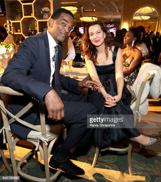 Retired NBA player Ralph Sampson and Patrice Ablack attend the Annual MercedesBenz ICON MANN 2017 Awards viewing party at Four Seasons Hotel Los...