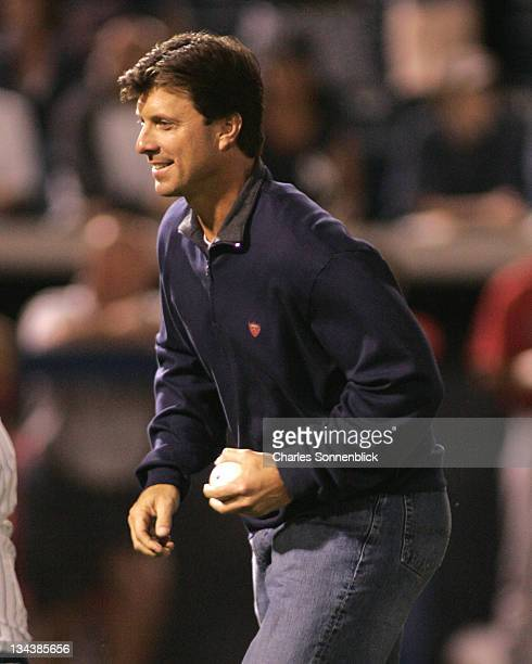 Retired New York Yankees first baseman Tino Matinez throws out the first pitch in a spring training game against the Boston Red Sox Wednesday March...