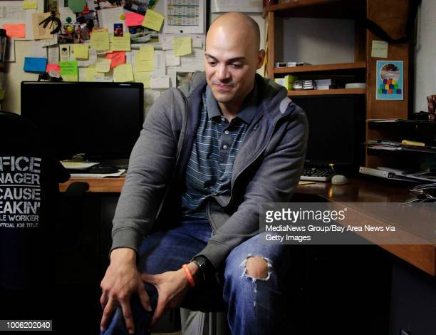 Retired NFL player Jarrod Cooper talks about his debilitating migraines at Oak Tree Animal Hospital in Danville Calif where he volunteers on Friday...