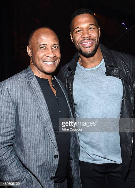 Retired NFL Player Lynn Swann and host Michael Strahan attend DirecTV Super Saturday Night hosted by Mark Cuban's AXS TV and Pro Football Hall of...