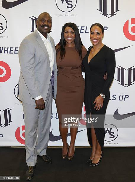 Retired NFL Player Marcellus Wiley Compton Mayor Aja Brown and Annemarie Willey attend Healthy Compton Festival Kickoff VIP Reception on November 11...