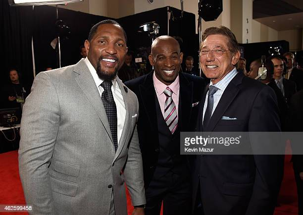 Retired NFL players Ray Lewis Deion Sanders and Joe Namath attend the 4th Annual NFL Honors at Phoenix Convention Center on January 31 2015 in...